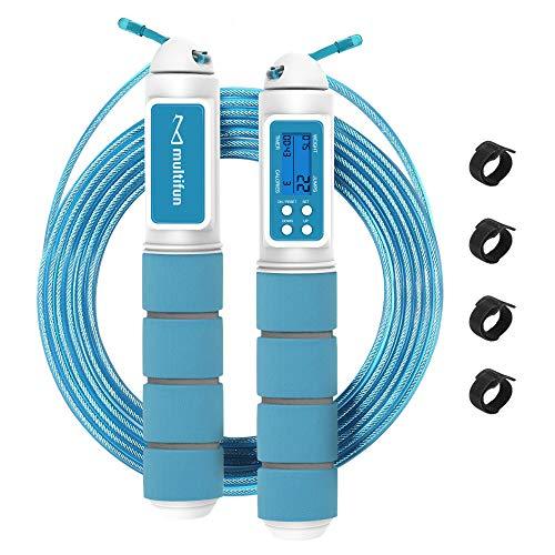 multifun Springseil mit digital Zähler, Speed Rope, Stahl Seil mit PVC Ummantelung, Profi Kugellager & Anti-Rutsch Griffe, Anzahl der Sprünge und Kalorienverbrauch, ideal für Crossfit, Profi Sport