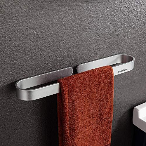 Anello Portasciugamani senza foro Porta Asciugamani Bagno Adesivo 40 cm Anello portasciugamani Colla forte + Alluminio autoadesivo Argento opaco