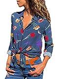 ShallGood Mujeres Camisa Elegante Blusa Floral Embroidered Stand Cuello Blusa Primavera Verano Floral Camisa Manga Larga Irregulares Tops Camisas Azul ES 40