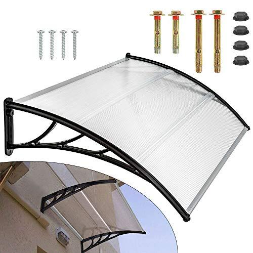 Tettoia per porta di casa, 150 cm, curva, traslucida, in alluminio e policarbonato, per esterni