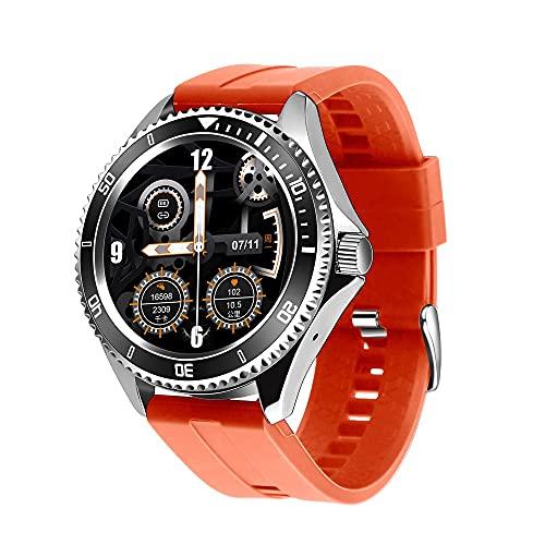 LZXMXR Smart Watch, kann an Kopfhörer angeschlossen Werden, Bluetooth Call Watch, unabhängige Musikwiedergabe, eingehende Anrufnachrichtenprüfung (Color : Orange-Gray)