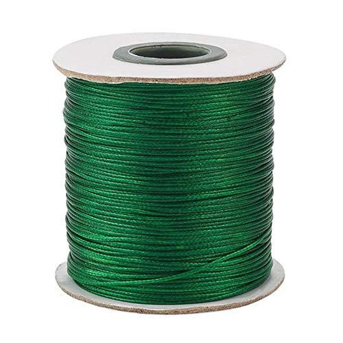 Z-NING 185 Yardas/Rollo 0.5/0.8/1.5mm Cordón de cordón de poliéster Encerado Cordón de Hilo de Hilo para Hacer Joyas Resultados de Collar de Pulsera de Bricolaje, Verde, 1.5 mm