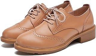 [WOOYOO] オックスフォードシューズ レディース マニッシュ 歩きやすい 婦人靴 レースアップ ウィングチップ ローヒール おじ靴 スムース調 女性用 大きいサイズ 英国風 疲れない ブラック