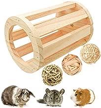 suruikei Rabbit Hay Feeder Rack Wooden Cylindrical Food Manger Grass Holder Hay Food Bin Feeder for Small Animals, Bunny Feeder, Guinea Pig Food Bowl, Chinchilla Hay Bin (1+3)