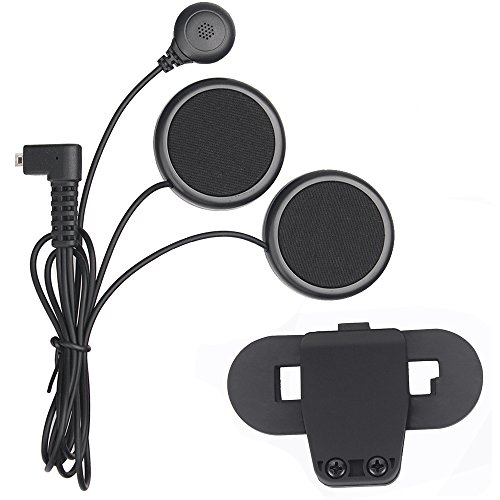 Fodsports micrófono auricular con cable. Auricular y clip de accesorio para las series T-COMVB y T-COMSC de casco de motocicleta, con Bluetooth, Interphone, intercomunicador de motos.