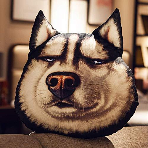 Taluoahc Kuscheltier Erha 3D Hundekopf Huskies Kissen Niedliches Kissen Nachtkissen Autosofa Schlafzimmer Junge Lustige 70 * 60 cm Schielen