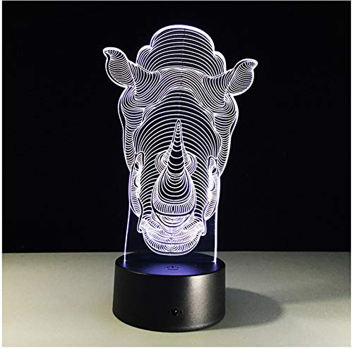 Cool Colorful Rhinoceros 3D Hologram 7 Colors Changing Table Lamp Luminaria Led Night Lights Children's room Decorative lighting