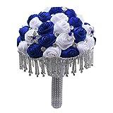 XYZMDJ Rojas de Seda Elegantes Bouquets de Boda para decoración de Dama de Honor Rhinestone Pearl Tassel Bouquet