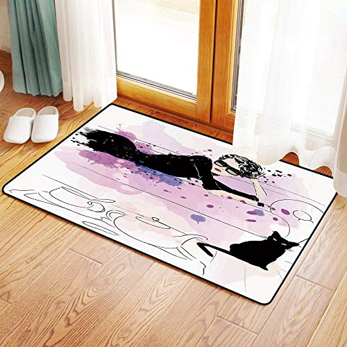 Yaoni Rutschfester Badvorleger, Fashion Decor, Mädchen mit Sonnenbrille auf Couch Cat Elegance im Home Theme mit Flecke,Mikrofaser Duschvorleger Teppich für Badezimmer Küche Wohnzimmer 60x100 cm