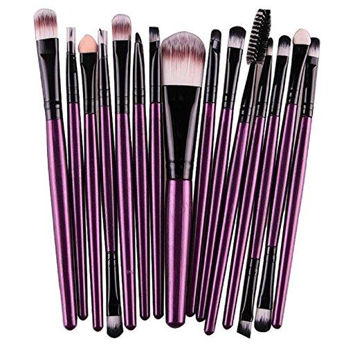 FEITONG dame de mode 15 pcs / Sets Fondation Eyeshadow Sourcils Lip Brush pinceaux de maquillage outil (Violet)