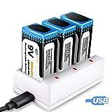Pile 9V Rechargeable, Keenstone 3PCS 800mAh 9V PP3 Li-ION Batteries Rechargeables avec Chargeur 9V Pile 3 Slots