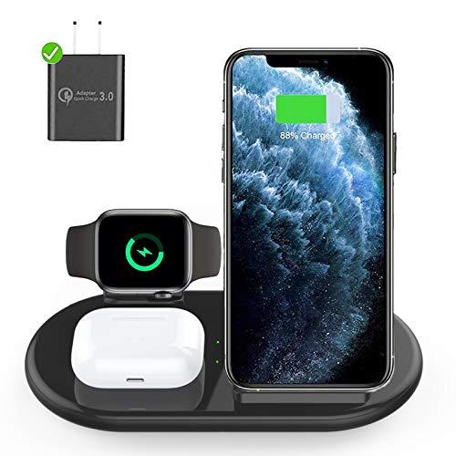 Lopnord Cargador Inalámbrico, Estación de Carga Inalámbrica 3 en 1 de 10 W Compatible con Apple Watch Series 6/5/4/3/2/1, iPhone 11/11 Pro MAX/XR/XS Max/Xs/X/8/8P, Air Pods Pro 2 (Negro)