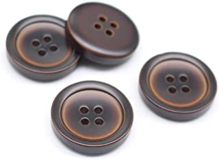 YaHoGa 30pcs 25mm Large Brown Buttons 1 Inch Resin Buttons for DIY Sewing Tailor Crafts Coats Clothes (RB10040)