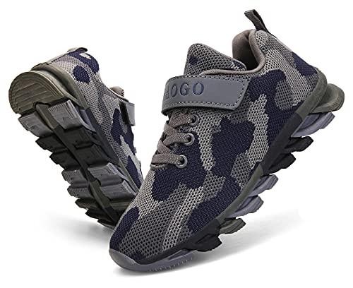 MAOGO Schuhe Kinder Sportschuhe Jungen Sneaker Camouflage Atmungsaktive Freizeitschuhe für Mädchen (Grau, Numeric_27)