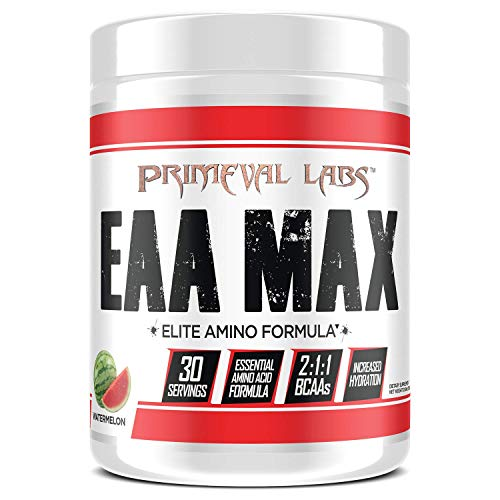 Primeval Labs EAA Max, Essential Amino Acids Supplement Powder, BCAAs, EAAs, Electrolytes, Enhance Performance, Support Hydration, Improve Muscle Recovery, Keto Friendly, Watermelon, 30 Servings