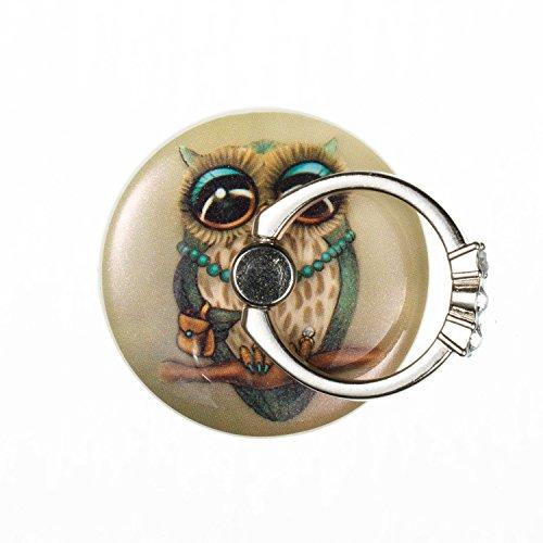 Uposao Bunt Runde Strasssteine Diamond Ring Finger-Halterung Smartphone Halter für die Hand. Handy-Ring für verbesserte Einhandbedienung – Eulen-Dame
