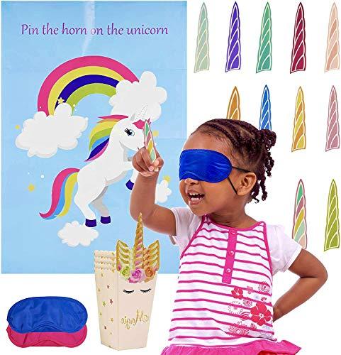 37 Piezas - Pin The Horn On The Unicorn - Juego Fiesta Cumpleaños Unicornio Niños  1 Póster...