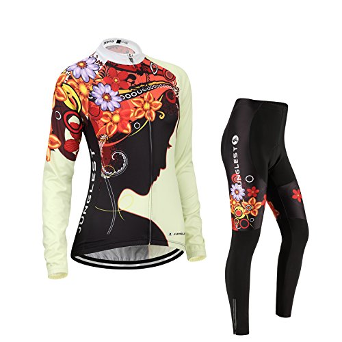(Cojín 3D)(traje tamaño:M) larga rendimiento para sudo chaleco ropa manga ciclismo mujer maillot transpirable Moda los de Jerseys rompevientos