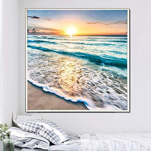 Kit de pintura de diamante para manualidades, banco de playa de verano, arena y ondas, 5D, con diamante de decoración perfecta para relajarse y decoración de pared del hogar, 30 x 30 cm