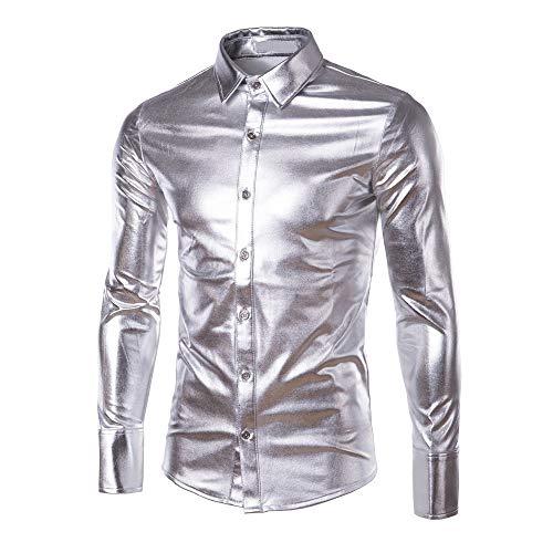 iHENGH Hommes Tops,Les Nouvelles Peintes Chemises à Manches Longues avec Blouse De Mode De RevêTement De Surface Brillant Hauts