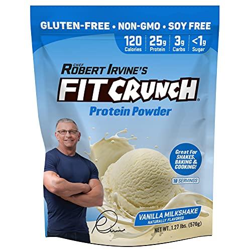 FITCRUNCH Tri-Blend Whey Protein, Keto Friendly, Low Calories, High Protein, Gluten Free, Soy Free (18 Servings, Vanilla Milkshake)