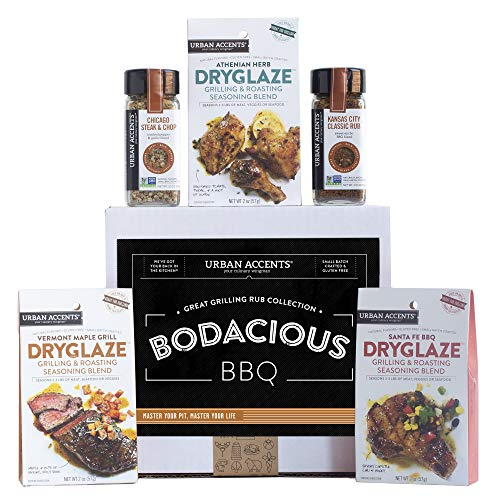 Urban Accents BODACIOUS BBQ, Gourmet BBQ Gift Baskets with Grilling Spices and Rubs (Set of 5) - A Dryglaze, Meat Spices and Dry Rubs BBQ Gift Set- Perfect Grilling Gift for Men