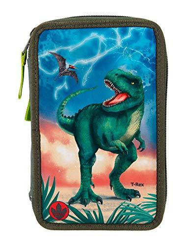 Depesche 11288 Gefüllte Federtasche mit LED, Dino World T-Rex, ca. 7,5 x 13 x 20 cm groß, mit 3 Reißverschlüssen, gefüllt mit Stiften von Lyra, Lineal, Schere, Kleber und kleinem Geheimfach