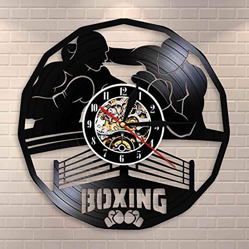 LIMN Boxing Gym Sign Boxing Martial Arts Wall Clock Madville Wall Decor Pugilism Boxing Main Event Vinyl Record Wall Clock Boxer Gift|Wall Clocks