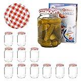 Van Well 12er Set Einkochgläser 720 ml Sturzglas Deckel Rot-Weiß Kariert Incl. Rezeptheft  ...