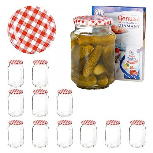 Van Well 12er Set Einkochgläser 720 ml Sturzglas Deckel Rot-Weiß Kariert Incl. Rezeptheft | Einmachgläser für Obst & Marmelade | Einweckgläser Gläser