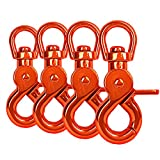 Ganzoo Lot de 4 mousquetons à tête rotative pour Laisse de Chien en Acier allié 61 mm de Longueur, également pour paracorde 550 / Porte-clés - Couleur : Orange