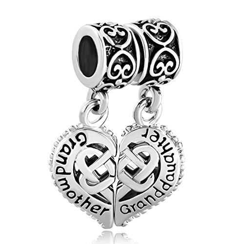LuckyJewelry Sterling Silver Grandmother Granddaughter Celtic Knot Charm fit Bracelet Charm
