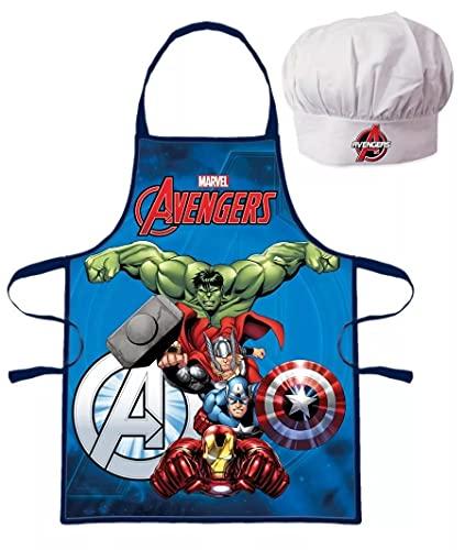 Palleon Avengers - Set da cucina per bambini con grembiule e cappello da cuoco