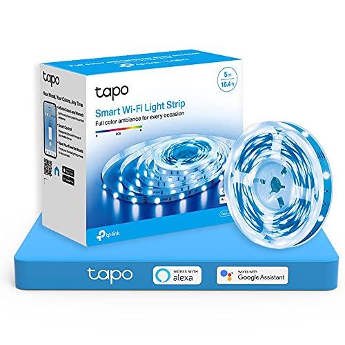 TP-Link Tapo - 5m WiFi Tiras LED de 12V, 16 Millones de Colores con 2100 mcd, Saludable para la Familia, Sincronización con Música, Compatible con Google y Alexa