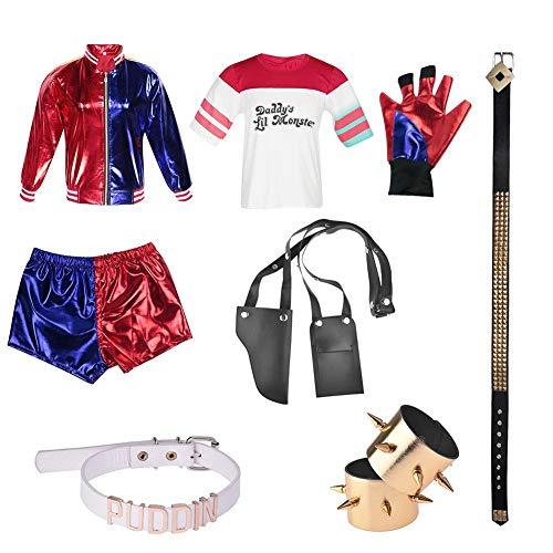 Set Damen Cosplay Kostüm Metallic Glänzend Erwachsene Rollenspiel Harley Quinn Kostüm 9-teilig Kit Suicide Squad Cosplay Kleidung für Frauen Jacke Handschuhe Zubehör