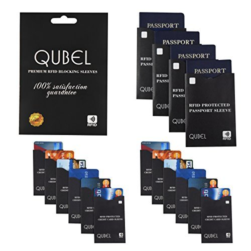 RFID Blocking Sleeves (Set of 16: 12 Credit Card & 4 Passport Protectors) Tear Proof, Waterproof, Smart Slim Design. Fits Any Wallet/Purse. Premium Identity Theft Protection (Black) by Qubel
