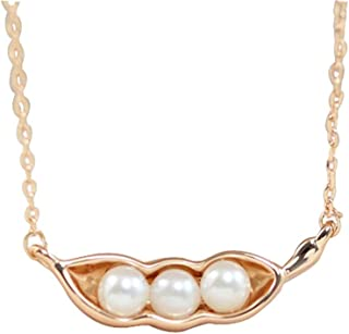 Ficccy 18K Rose Gold Plated Three Pea in Pod Necklace Very Cute Jewelry Pearl Pendant Mother's Gift Jewelry