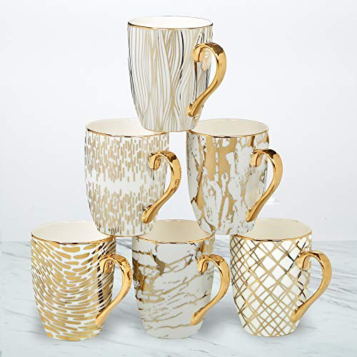 "Certified International 26540SET6 Matrix 16 oz. Gold Plated Mugs, Set of 6, 5"" x 3.25"" x 4.5"", Multicolored"