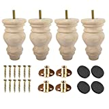 unfinished bun feet - 5 inch Unfinished Wooden Bun Feet, Btowin 4Pcs Solid Wood Furniture Legs with Threaded 5/16'' Hanger Bolts & Mounting Plate & Screws for Sofa Couch Chair Ottoman Cabinet