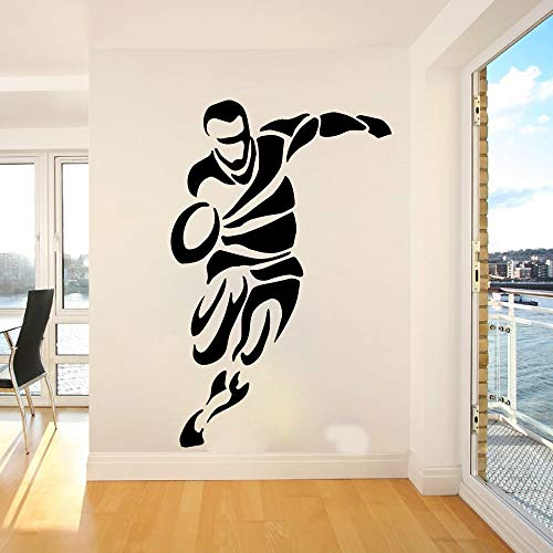 Tianpengyuanshuai Rugby-Spieler Wandaufkleber Schlafzimmer Fußballspieler Wandtattoo Kinderzimmer Vinyl Dekoration 84X54cm