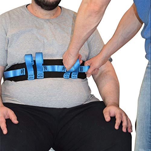 Sicherer Transport- und Gehgurt mit 7 Haltegriffen für Pfleger - Ambulanter Assistent für Patiententransport und Bewegung–Transfergurt Haltegurt 130cm lang 10cm weit Blauer Griff Schnellverschlus