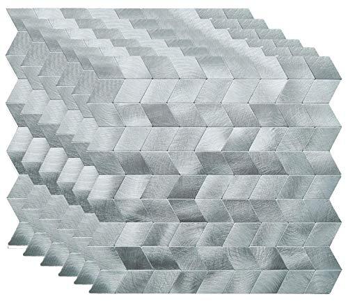 KASARO Backsplash Peel and Stick Mosaic Tile Aluminum Stainless Steel Self Adhesive Tile for Kitchen Wall Bathroom (6, Diamond)