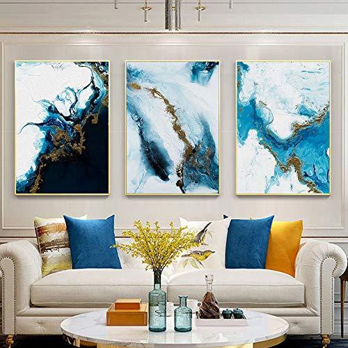 WEDSA Mural Lienzo Pintura Cartel decoración del hogar Color Spalsh Azul Dorado Lienzo Pintura Cartel e impresión Decoración única Arte de la Pared Imágenes para la Sala Dedroom 40x60cmx3 Sin Marco