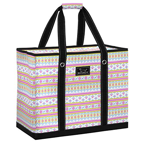 SCOUT 3 Girls Bag, Extra Large Beach Bag with Zipper, Pockets, and Comfort Grip Handles, Lightweight, Water-Resistant Utility Tote Bag in Gosh Yarn It Pattern (Multiple Patterns Available)