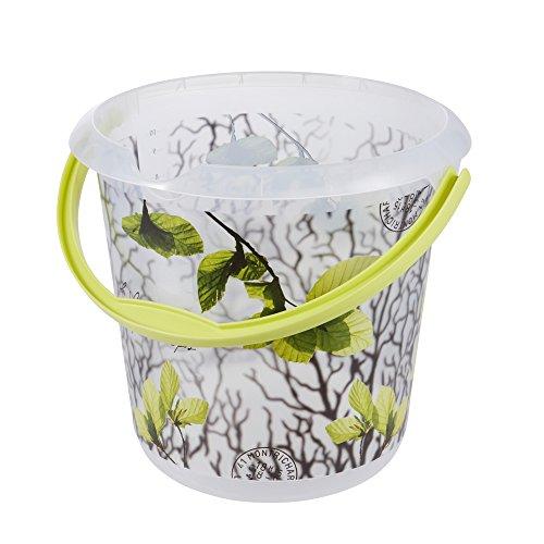 keeeper Eimer mit integrierter Mess-Skala und ergonomischem Griff, Blumendekor, 10 l, Ilvie Spring Leaves, Transparent