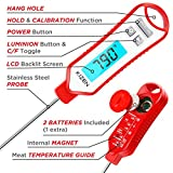 Kizen IP109 Waterproof Meat Thermometer with Long Probe Digital Instant Read Food Thermometer for Grilling Smoker BBQ Kitchen Cooking Candy Thermometer with Calibration (Red Velvet)