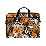 Cute Dog Print Animal Laptop Case Bag Sleeve Portátil Crossbody Messenger Maletín 14 Pulgadas