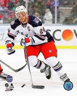Ryan Callahan New York Rangers action Stadium Series jersey snow falling 8x10