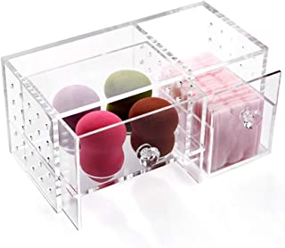 Luggage Cosmetic Cases Cosmetic Storage Rack Storage Box Dressing Table Rack Daily Necessities Finishing Tools Earrings Jewelry Box (Color : Clear, Size : 21cm*10cm*10cm)