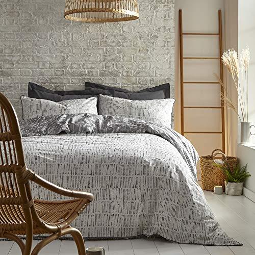 Appletree Loft – Matches – Set copripiumino in cotone rilassato, per letto king size, colore: argento